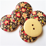 6 Black Red Green Yellow Flower Pattern Wooden Buttons 30mm