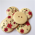 6 Red Flower and Leaves Pattern Wooden Buttons 30mm