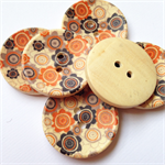 4 Orange Black Flower Pattern Wooden Buttons 30mm
