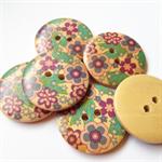 6 Purple Green Blue Flower Pattern Wooden Buttons 30mm