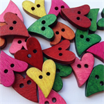 50 Heart Pattern Wooden Buttons Bright Colours