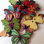 50 Butterfly Pattern Wooden Buttons Bright Colours