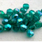 25 x Czech Fire Polished Crystal Round 4mm Beads - Emerald