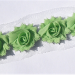20 Mint Green small shabby chiffon rose flowers - trim for hairclips & craft