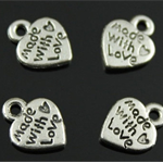 5 Antique Silver or Antique Bronze 'Made with Love' Heart Charms
