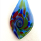 Lampwork Murano Glass Blue Leaf Pendant