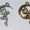 3 Antique Silver or Antique Bronze Fairy on the Moon Crescent Charm