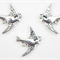 5 Antique Silver Swallow Charms