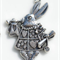 3 Antique Silver or Antique Bronze Alice in Wonderland White Rabbit Charm