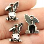 6 Antique Silver or Antique Bronze 3D Rabbit/Bunny Head Charm