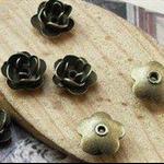 4 Antique Bronze Tiny 3D Flower Charm