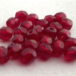 25 x Czech Fire Polished Crystal Round 4mm Beads - garnet