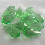 10 x Czech Fire Polished Crystal drop Beads - green