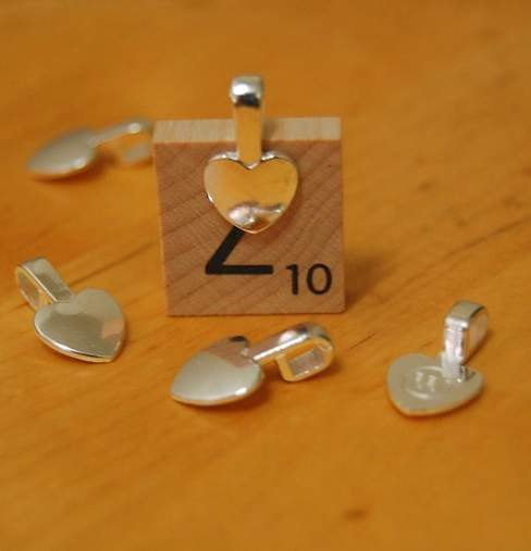 50 High Quality Small Heart Shape Silver Color Glue On Bails, Great For, Dichron