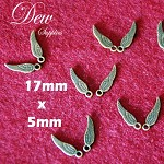 20 pcs small vintage style bronze wings 17mm x 5mm, high quality and strong, nic