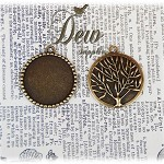 10 x Bronze Round Pendant Trays with Tree Of Life On the back, cabochon blank -