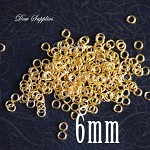 100 Jump rings shinny gold 6mm high quality