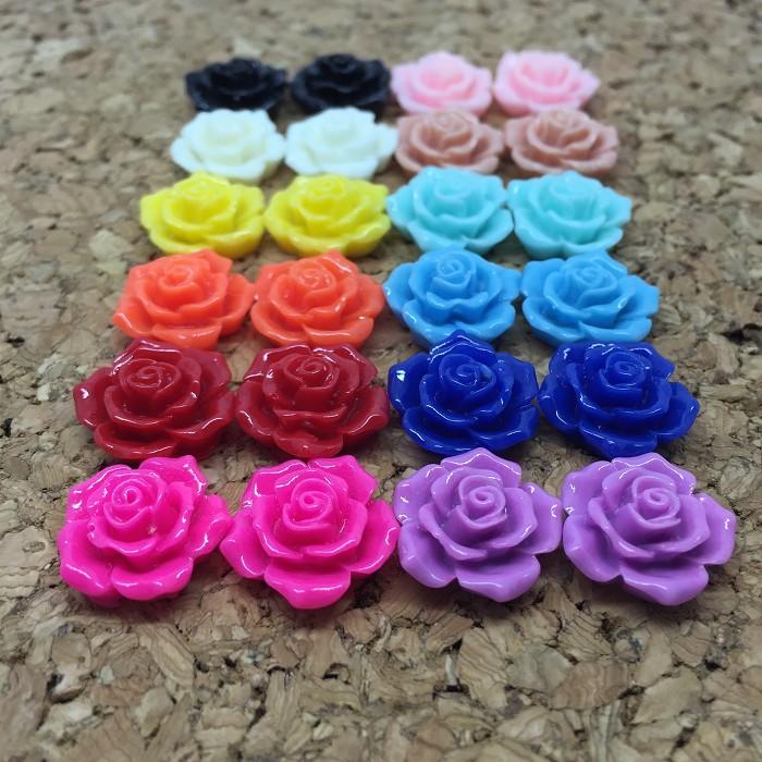 Resin Flowers, Cabochons 16mm Rose Sampler - 24pcs