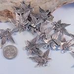 25 Silver Maple Leaf Pendants