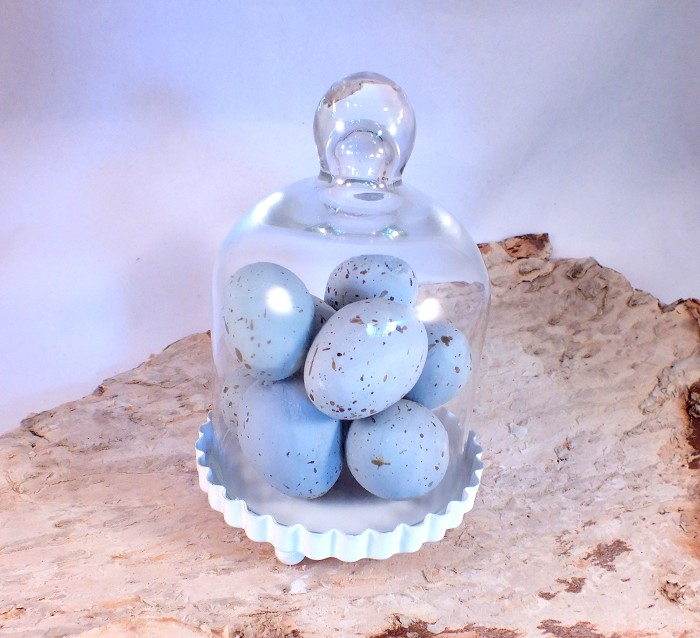 DESTASH - Decorative Robins Eggs Blue Faux Artificial Speckled 1 Dozen