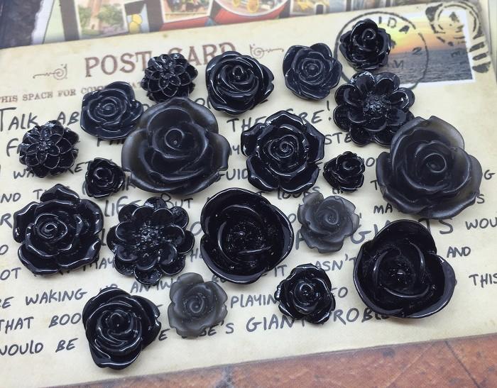 20pcs - Resin Flowers, Cabochons - Black