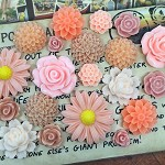20pcs - Resin Flowers,  Cabochons - Peach