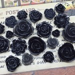 20pcs - Resin Flowers, Cabochons - Black