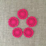 Pack of 5, hot pink round motives, ornaments, scrapbooking, card making
