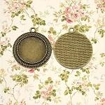 20 x 25mm Round Bronze Brass Pendant Trays Bulk - 25mm (1 Inch) Bronze color - v
