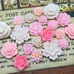 20pcs - Resin Flowers, Cabochons - Pink