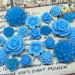 20pcs - Resin Flowers, Cabochons - Blue