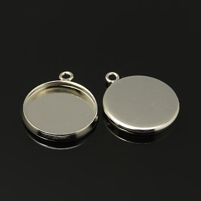 20x 14mm small pendant trays ,platinum plated with matching jumprings
