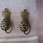 2pcs Antique Bronze 32X16MM Lovely 3D Cat Charm Pendant