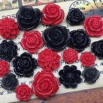 20pcs - Resin Flowers, Cabochons - Black/Red