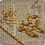 Gold Golden  Color Chain Setting...6m Golden color chain...10 matching Clasp...2