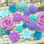 20pcs - Resin Flowers, Cabochons - Purple/Teal
