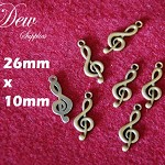 10pcs Treble clef musical note pendant charm, vintage style bronze colour