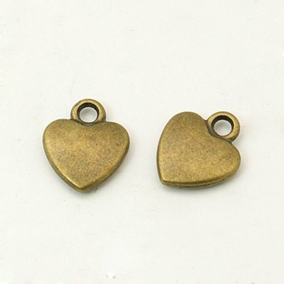 20 pcs small heart charms two sided, heart pendant 12mm x 10mm antique bronze