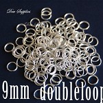 100 Jump rings silver double loop 9mm, 8mm inner size High quality