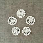 Pack of 5, off-white creamy round motives, ornaments, scrapbooking, card making