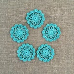 Pack of 5, teal round motives, ornaments, scrapbooking, card making