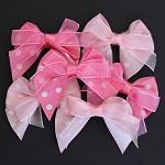 CLEARANCE 6 Pink Polka Dots Organza Ribbon Bows -2 Shades