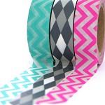 Washi tape set of 3 rolls x10m Aqua and neon pink with grey