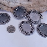 Silver Filligree Settings  x 10 - brooch or pendant use 25mm x 18 mm setting