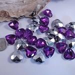 BULK DESTASH  Faceted Purple Heart Cabochons - Foilbacked (50)  rhinestone