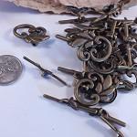 Brass Leaf Toggle / Clasp Set x 10
