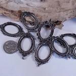 Silver Ornate Filligree Settings  x10 - pendant use 25mm x 18 mm setting
