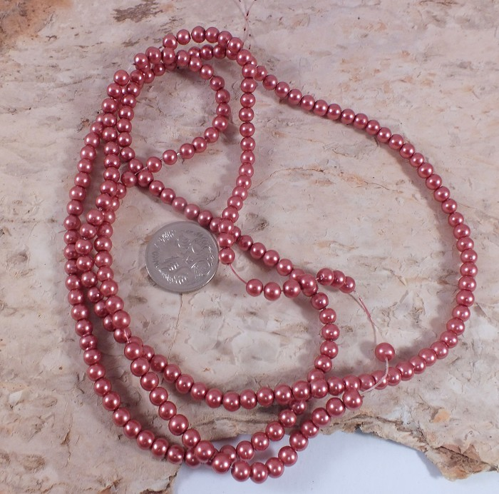 1xstrand Glass Pearl beads 4mm - Bronze