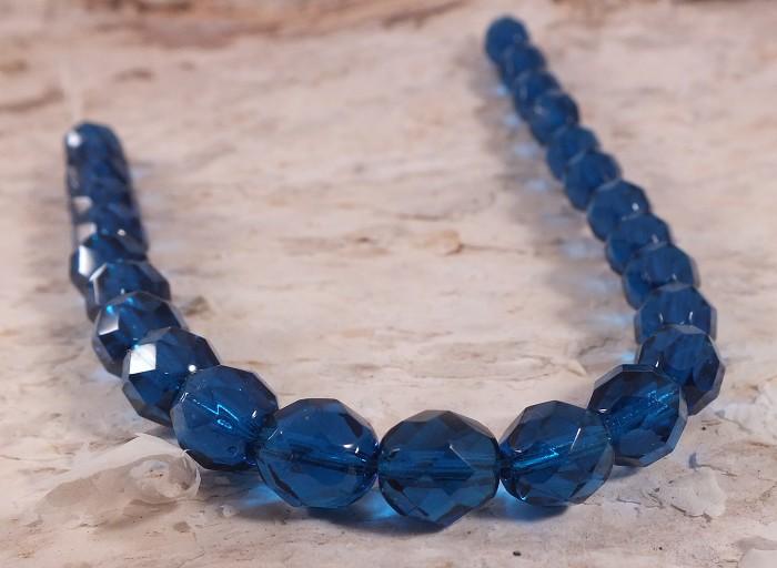 25x Czech Fire Polish Beads 8mm - Capri Blue