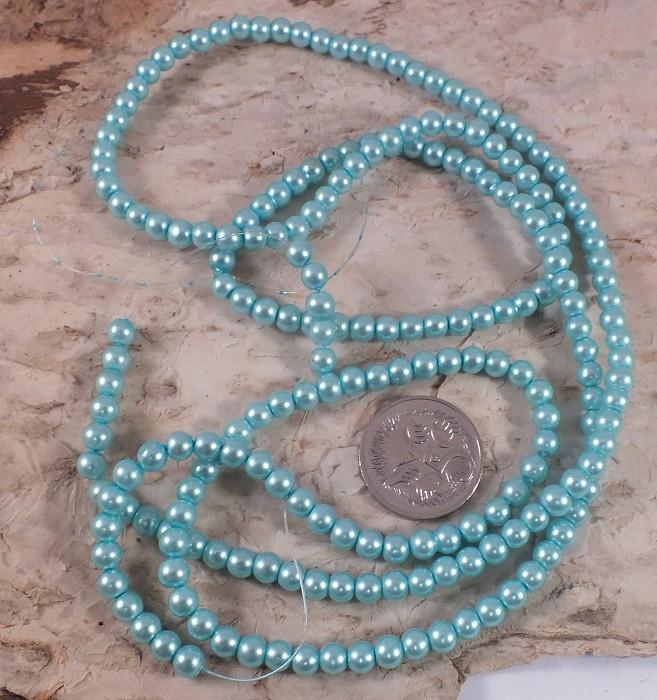 1xstrand Glass Pearl beads 4mm - Aqua